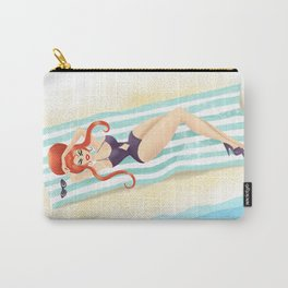 Red Haired Bouffant Beach Blanket Bombshell Carry-All Pouch