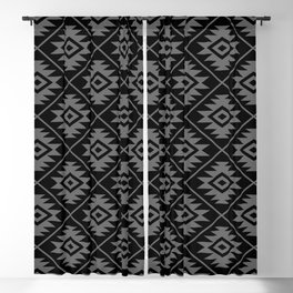 Aztec Symbol Pattern Gray on Black Blackout Curtain