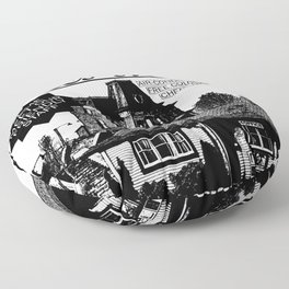 Bates Motel Advertisement - Black Type Floor Pillow