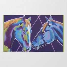 Contemporary Horses Kissing Rug