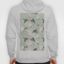Vintage Watercolor hummingbird and Magnolia Flowers on mint Background Hoody