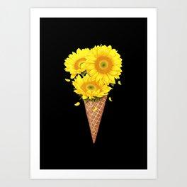 Sunflowers on black Art Print