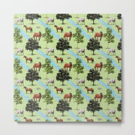 horses in the forest Metal Print