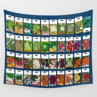 vegetable Wall Tapestries featuring Vegetable Seeds by La Maison du Lapino