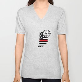 Indiana Firefighter Shield Thin Red Line Flag Unisex V-Neck