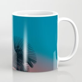 Complementary Colors Orange & Blue Ombre Sunset Minimalist Palm Tree Sunset Silhouette Coffee Mug