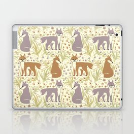 Adorable Fox Friends, Animal Pattern in Nature Colors of Grey and Brown with Paw Prints Laptop & iPad Skin