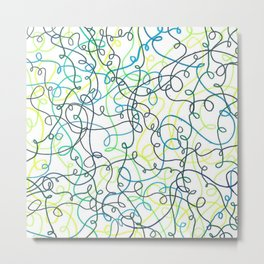 Greenery Squiggles Metal Print