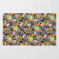 vintage floral Area & Throw Rugs featuring Vintage Floral by Lydia Meiying