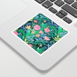 Roses + Green Messy Floral Posie Sticker