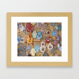 Hamsa lucky charms Framed Art Print