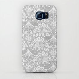 Stegosaurus Lace - White / Silver iPhone Case