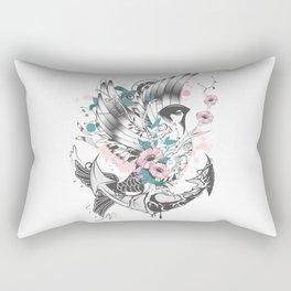 Bird fish with anchor Rectangular Pillow