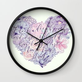 flower heart . sylvia plath quote . the bell jar Wall Clock