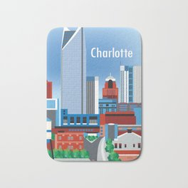 Charlotte, North Carolina - Skyline Illustration by Loose Petals Bath Mat
