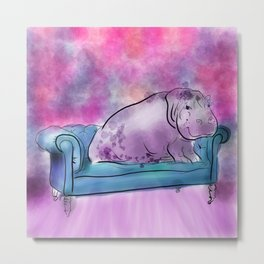 animals in chairs #9 variations on a theme Hippo Metal Print
