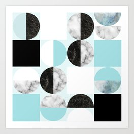 Mid Modern Moon and Sun Geometric Pattern - blue Art Print