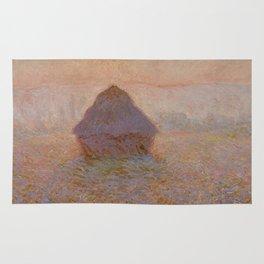 Grainstack, Sun in the Mist by Claude Monet Rug