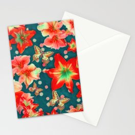 Amaryllis and Butterflies 2 Stationery Cards