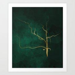 Kintsugi Emerald #green #gold #kintsugi #japan #marble #watercolor #abstract Art Print