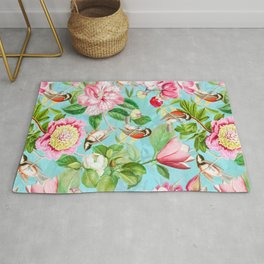 Vintage & Shabby Chic - Spring Birds Peonies Magnolia Botanical Garden  Rug