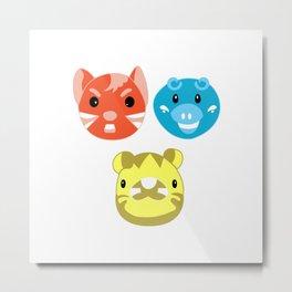 Neon Pop Animal Trio Metal Print