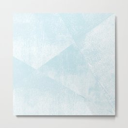 Light Blue and White Geometric Triangles Lino-Textured Print Metal Print