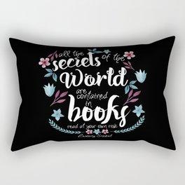 Book Secrets (Black) (Lemony Snicket Quote) Rectangular Pillow