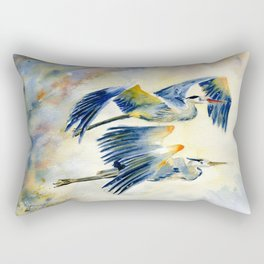 Flying Together - Great Blue Heron Rectangular Pillow