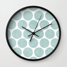 robins egg blue polka dots Wall Clock