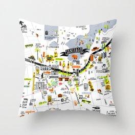 Santiago Map Throw Pillow