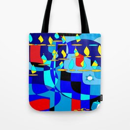 A Community Chanukah (Hanukkah) in Blue Tones with Red Tote Bag