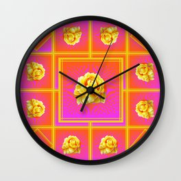 Yellow Roses Rosy Pink Geometric Abstract Wall Clock