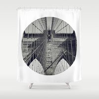 brooklyn bridge Shower Curtains featuring Brooklyn Bridge by abominable