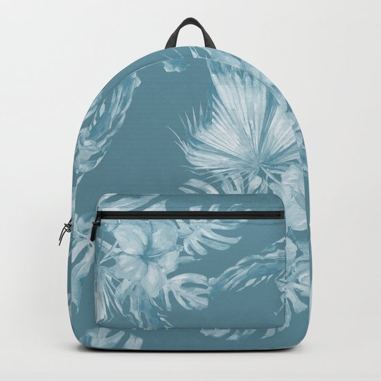 Teal Island Escape Palm Leaves + Flowers Backpack