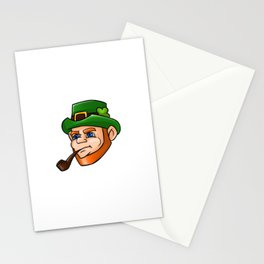 Leprechaun Face Smoking Pipe Stationery Cards
