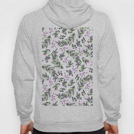 Modern  black lavender green watercolor berries floral pattern Hoody