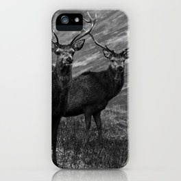 The four stags on the loch b/w iPhone Case