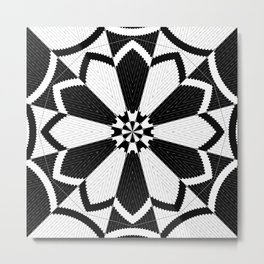 Black and White Floral Pattern Design Metal Print