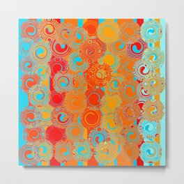 Turquoise, Red, and Yellow Swirls Metal Print