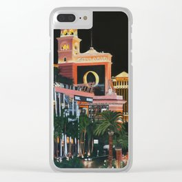 Las Vegas Strip Oil On Canvas Clear iPhone Case