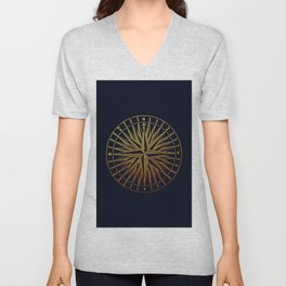 The golden compass- maritime print with gold ornament Unisex V-Neck