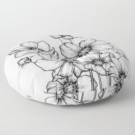 Flowers Black and White Floor Pillow