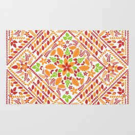 Flowers and Leaves in a box Rug