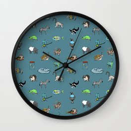 Animal alphabeth blue Wall Clock
