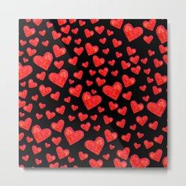 Hearts Motif Black Metal Print