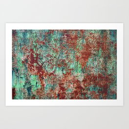 Abstract Rust on Turquoise Painting Art Print
