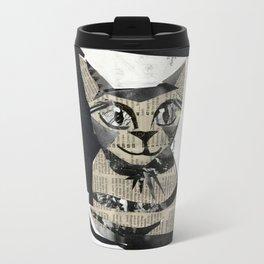 Newspaper Cat Metal Travel Mug