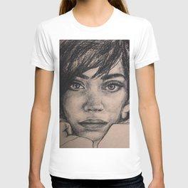 Watercolor portrait brunette girl. Girl passion. T-shirt
