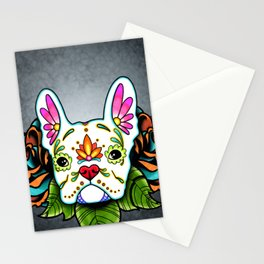 French Bulldog in White - Day of the Dead Sugar Skull Dog Stationery Cards